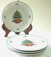 """Four Christmas Tree 7"""" Plates Geen Border Made in Japan"""