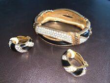 Swarovski crystal bracelet and clip-on earrings set - black, gold
