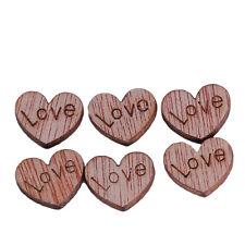 100x Love Heart Shape Wood Buttons Flatback DIY Craft Sewing Scrapbooking Shan