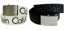 New Calvin Klein Adjustable 38mm Cotton Black White Men's Belt CK 79545