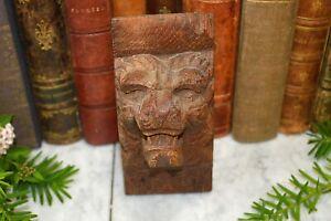 Antique German Black Forest Carved Wood Lion Head Corbel Bracket