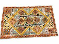 INDIAN SEQUIN EMBROIDERY VINTAGE COVER SARI YELLOW TAPESTRY WALL HANGING DECOR