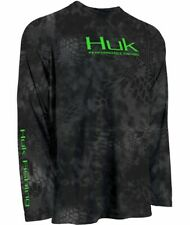 Youth Huk Performance Kryptek Typhon Black Long Sleeve Icon Fishing Shirt Sz YS