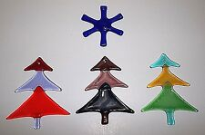 Vintage Art Glass CHRISTMAS TREE Ornaments COBALT BLUE Snowflake
