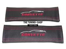 "2x Seat Belt Covers Pads Black Leather ""CORVETTE"" Embroidery For Corvette"
