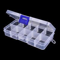10compartimento transparente visible plástico pesca cebo caja de peces pala c*ws