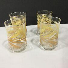 Set of Four Vintage LIBBEY 6 OZ Small Juice Glasses Golden Wheat