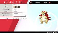 Pokemon Sablaireau shiny 6IV + masterball - Battle Ready - Epée/Bouclier