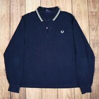 Mens Vintage Fred Perry 100% Cotton Pique Sweater Jumper Navy Blue Size M