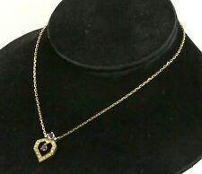 18K YG elegant 1.16CT VS diamond & ruby abstract heart pendant necklace