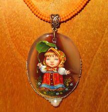 Pendant Stone & Shell SHENSHIN MASHA GIRL hand painted beaded necklace signed