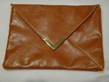 NORDSTROM Faux-Leather with Turquoise Satin Lining Clutch Purse Cosmetic Bag