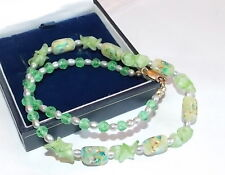 "Vintage Molded Glass Confetti Green Bead Pearl Gold Filled 16"" Necklace 12b 12"