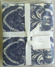 """Pottery Barn Keller Stitched Quilted Euro Pillow Sham NWT Navy Blue & White 26"""""""