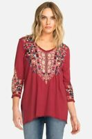 Johnny Was JWLA V Neck Embroidered Claude 3/4 Knit Drape Top Boho New J18918