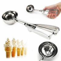 Stainless Steel Ice Cream Scoop Spoon Spring Handle Masher Cookie Scoop Tool