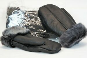 REAL GENUINE SHEEPSKIN SHEARLING LEATHER MITTENS UNISEX BLACK / GRAY ASH S-2XL