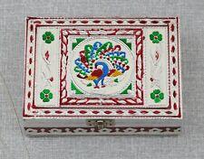 JEWELLERY GIFT BOXES Fair trade Indian Peacock White Velvet Trinket Box Handmade