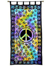 Peace Sign TIE DYE Hippie Indian Wall Hanging Tapestry Door Window Curtain