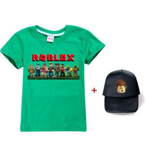 Roblox Game Boys Girls T-shirt Summer Short Sleeve Tee Top Kids Basketball Cap