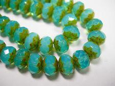25 8x6mm Aqua Opal Picasso Czech Glass Fire polished Rondelle beads