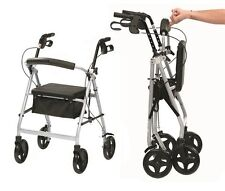 Ultra lightweight rollator wheeled walking aid frame 4 wheel mobility walker