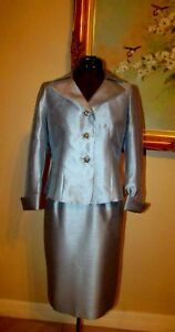 KASPER SZ 4P SHIMMER BABY BLUE 2 PC SKIRT SUIT WITH 3 BLUE RHINESTONE BUTTONS