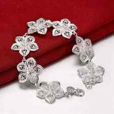 Fashion 925 Silver plated Jewelry Flower Link Bracelet For Women H317