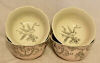 222 Fifth Adelaide Pink / Silver Porcelain Floral Soup Bowls Set of Four New