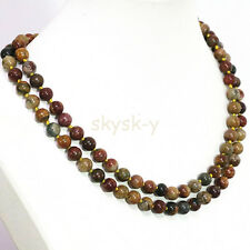 AAA Natural 8mm Multicolor Picasso Jasper Round Gems Beads Necklaces 36 inches