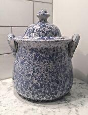 Vintage Speckled Splatter Blue White Lidded Jug Pot Crock Cookie-Jar w/Handles