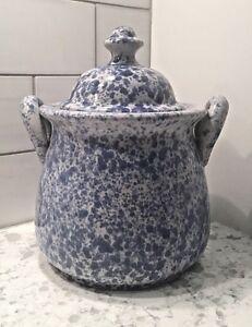 Vintage Speckled Splatter Blue White Lid Canister Pot Crock Cookie Jar w/Handles