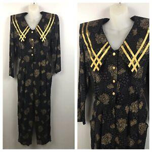 1990s Jumpsuit / Black & Gold Paisley One Piece Suit Long Sleeve / Medium