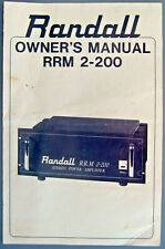 Randall Rrm-2-200 Power Amplifier Original Owner's Manual, Schematics, Pc Boards