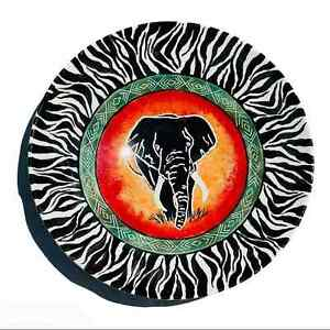 "Elephant Ceramic Plate 🐘 Large 15"" Black Zebra Print"