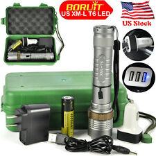 New Military Rechargeable 20000LM XML T6 LED Zoomable Flashlight Torch 18650+Box