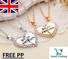 Best Friend Heart Gold Silver Rhinestone 2 Pendants Necklace Friendship 2 in 1