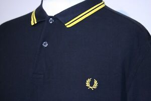 Fred Perry Twin Tipped Polo Shirt - XXL/2XL - Black/Bright Yellow - M3600 Top