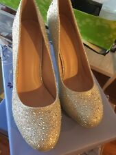 Fabulicious shoes silver glitter mesh