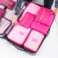 US 6Pcs Waterproof Clothes Travel Storage Bag Luggage Packing Cube Organizer Set