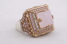 Turkish Jewelry Square Pink Rose Quartz Topaz 925 Sterling Silver Ring Size 8