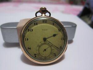 1921 ELGIN 14k Gold Filled 16S Pocket Watch Fine Working Half Hunter Case COOL