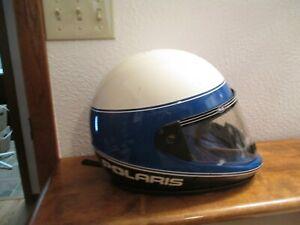 POLARIS Snowmobile Helmet Vintage Full face w/ Shield Blue & White Size XX Large
