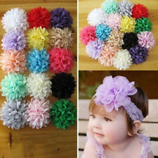 DIY 10PCS Lot Baby Girls Chiffon Flower Corsage Top Charming Ribbon Bow No Clip