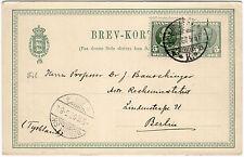 Dänemark 1907, 5 Öre Ganzsachenkarte mit ZuF als Bedarfskarte nach Berlin
