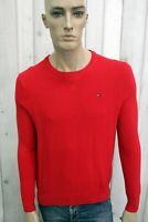 TOMMY HILFIGER Maglione Uomo Taglia M Cardigan Rosso Cotone Pullover Sweater