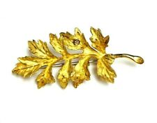 Authentic Diamond Leaf 18k Yellow Diamond Brooch Pin