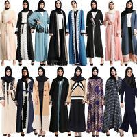Women Open Abaya Muslim Cardigan Maxi Dress Islam Kaftan Jilbab Robe Gown Dubai