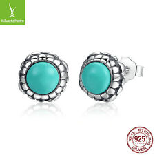 European Bloom Stud Earring With Green Turquoise Fit 925 Sterling Spring Jewelry
