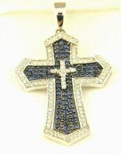 14K White Gold Diamond and Sapphire Cross Pendant (1.40. ct. t.w.) Lot # Bel